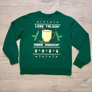"Christmas Sweatshirt ""Less Talkin More Noggin"" XL"